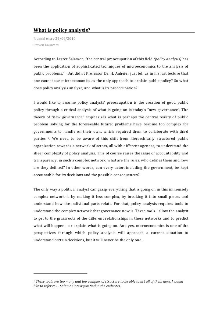 Journal 2: What is policy analysis?