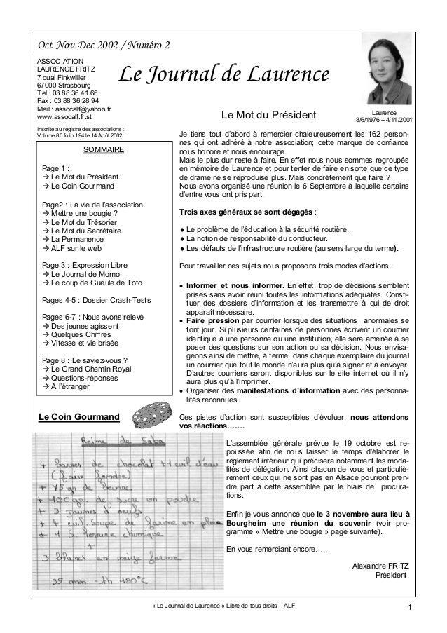 1 Oct-Nov-Dec 2002 / Numéro 2 ASSOCIATION LAURENCE FRITZ 7 quai Finkwiller 67000 Strasbourg Tel : 03 88 36 41 66 Fax : 03 ...