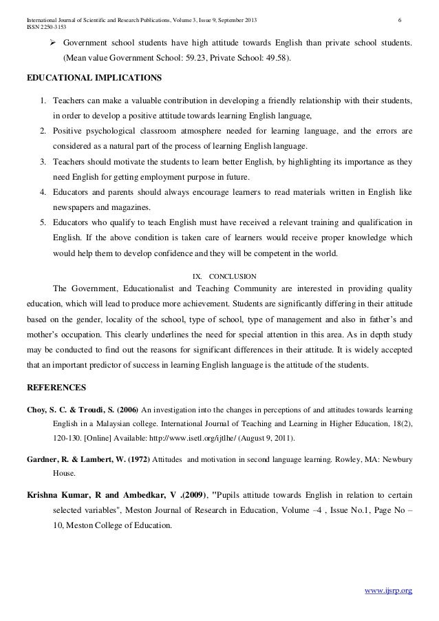 students attitudes toward english education essay Perceptions and attitudes towards blended to identify perceptions and attitudes of the students towards blended learning of english essay -writing, etc are.