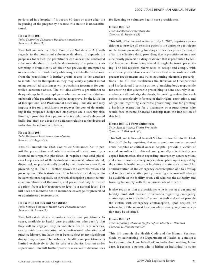 Utah Health Review 2009