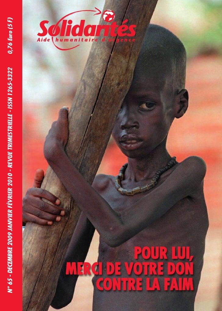 N° 65 - DECEMBRE 2009 JANVIER FÉVRIER 2010 - REVUE TRIMESTRIELLE - ISSN 1265-3322   0,76 Euro (5 F)               POUR LUI...