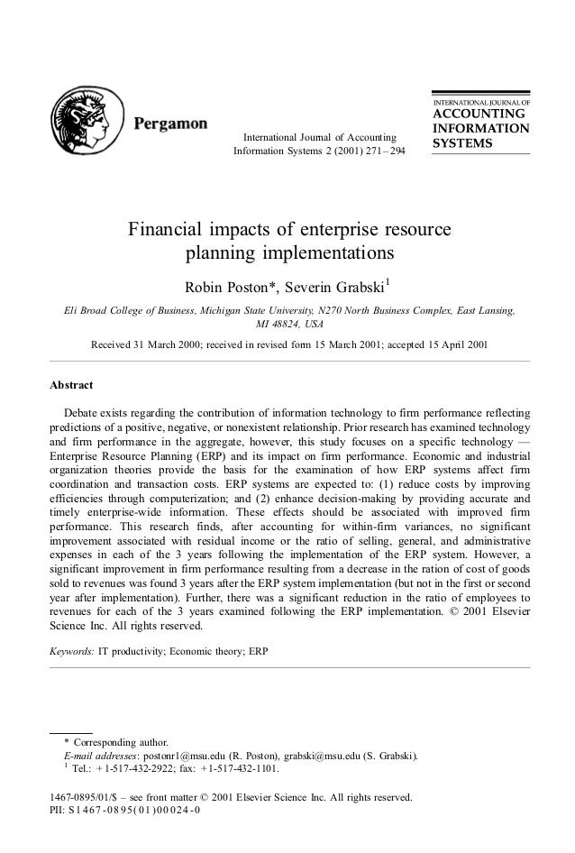 International Journal of Accounting                                          Information Systems 2 (2001) 271 – 294       ...