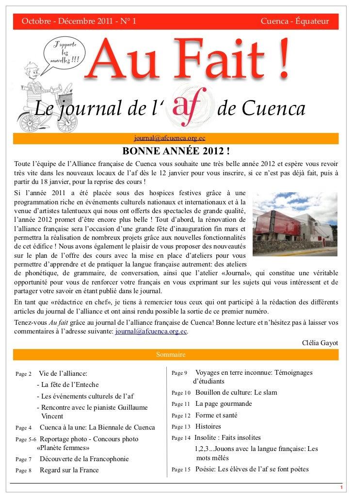 Octobre - Décembre 2011 - N° 1!                  !       !        !      !       !            Cuenca - Équateur           ...