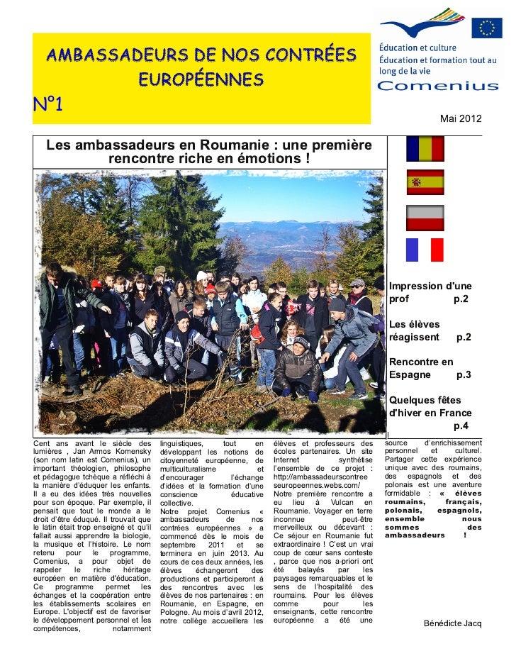 AMBASSADEURS DE NOS CONTRÉES           EUROPÉENNESN°1                                                                     ...