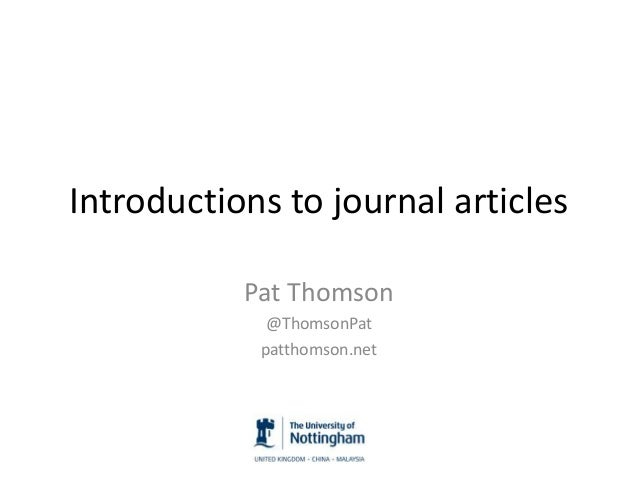 Introductions to journal articles Pat Thomson @ThomsonPat patthomson.net