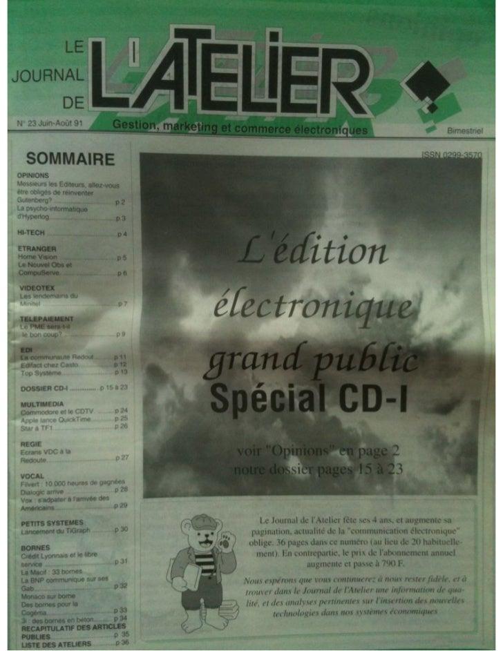 Journal de L'Atelier - juin aout 1991