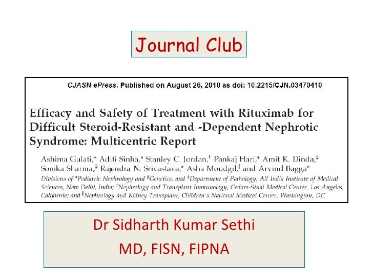 Dr Sidharth Kumar Sethi MD, FISN, FIPNA Journal Club