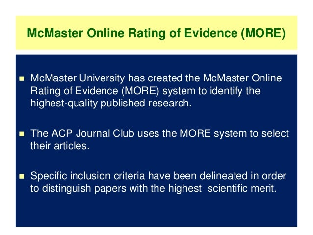 mcmaster critical appraisal tool guidelines