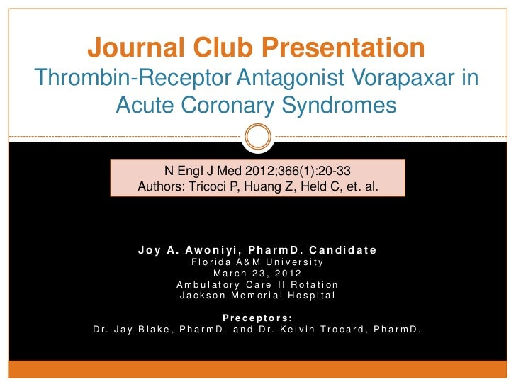 journal club: thrombin-receptor antagonist vorapaxar in acute coronar…, Powerpoint templates