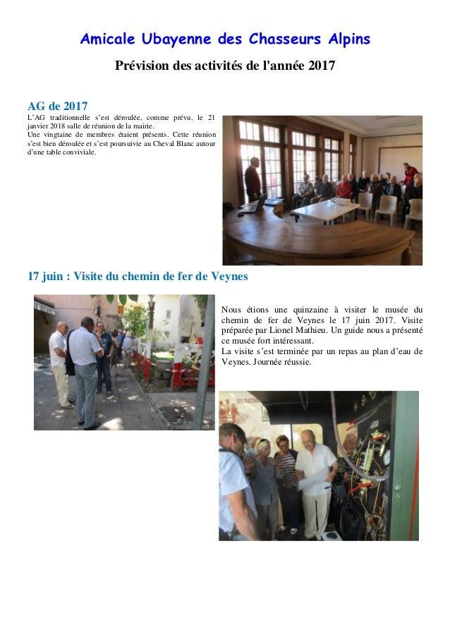 Amicale Ubayenne des Chasseurs Alpins Prévision des activités de l'année 2017 AG de 2017 L'AG traditionnelle s'est déroulé...
