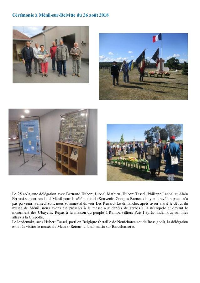 Cérémonie à Ménil-sur-Belvitte du 26 août 2018 Le 25 août, une délégation avec Bertrand Hubert, Lionel Mathieu, Hubert Tas...