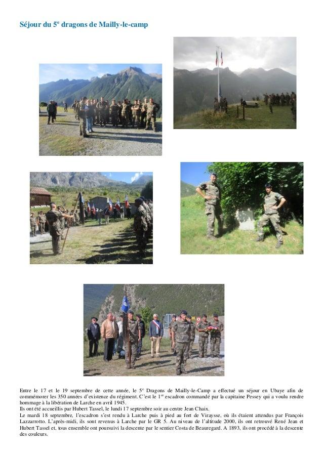 Séjour du 5e dragons de Mailly-le-camp Entre le 17 et le 19 septembre de cette année, le 5e Dragons de Mailly-le-Camp a ef...