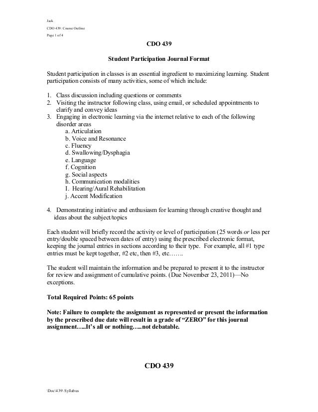 JackCDO 439: Course OutlinePage 1 of 4                                         CDO 439                          Student Pa...