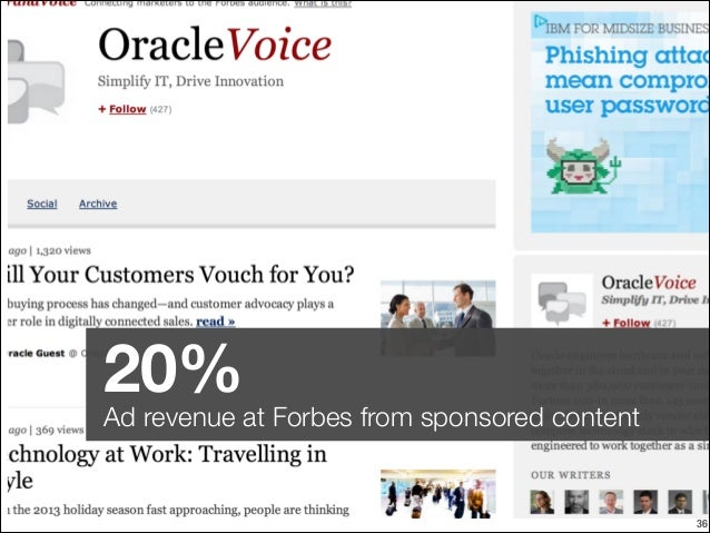 20%  Ad revenue at Forbes from sponsored content  !36