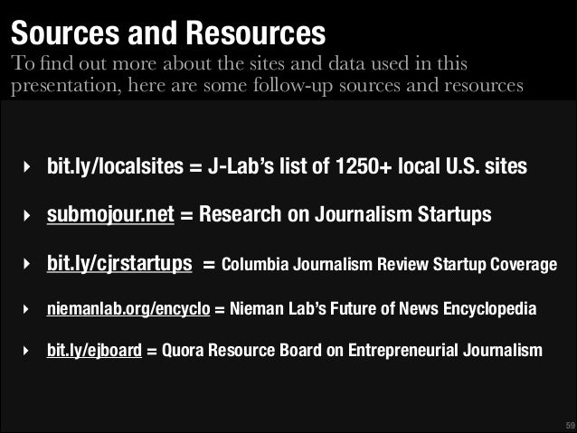 Sources and Resources  To find out more about the sites and data used in this presentation, here are some follow-up sources...