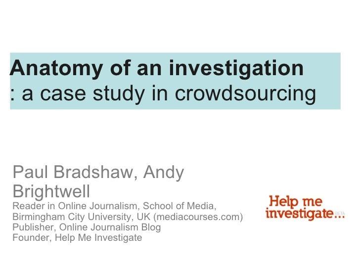 Paul Bradshaw, Andy Brightwell Reader in Online Journalism, School of Media, Birmingham City University, UK (mediacourses....