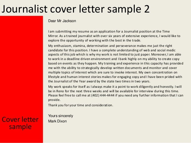Journalist Cover Letter