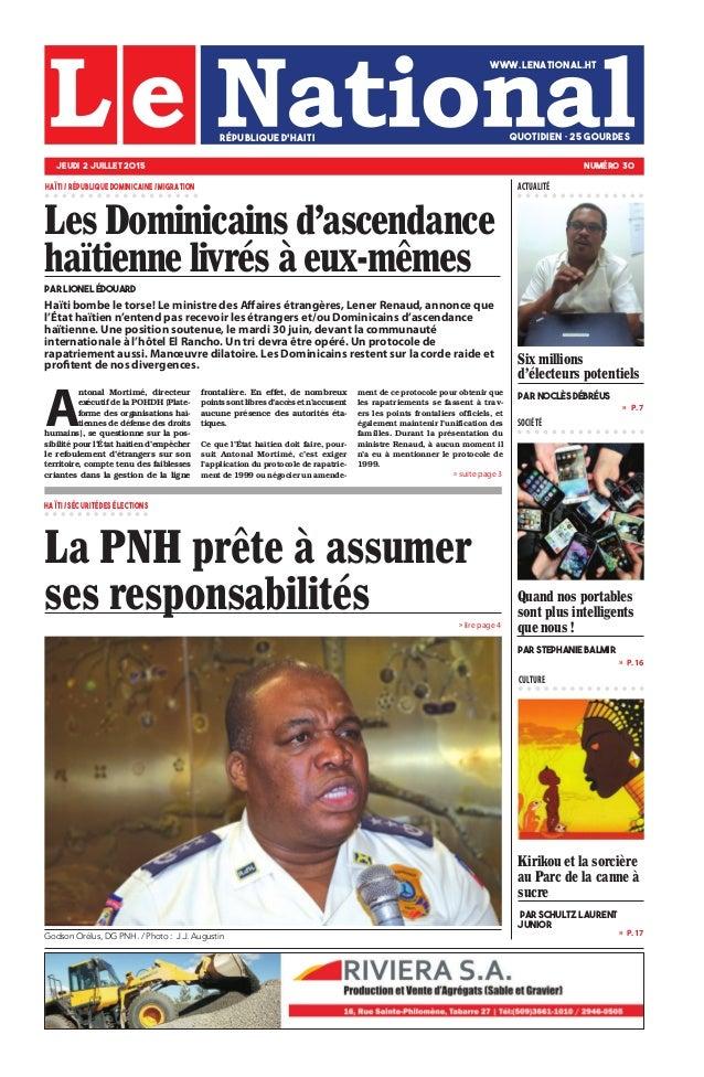 Haïti bombe le torse! Le ministre des Affaires étrangères, Lener Renaud, annonce que l'État haïtien n'entend pas recevoir ...