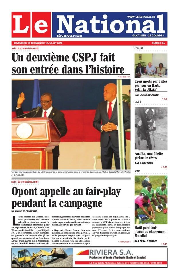 » P. 15 » P. 21 »  P. 6 SPORT SOCIÉTÉ » lire page 14 » suite page 5 Anaïka, une fillette pleine de rêves par Lamy Obed Ha...
