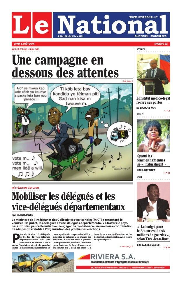 » P. 15 » P. 23 »  P. 4 SOCIÉTÉ SPORT » suite page 6 » lire page 3 Quand les femmes haïtiennes se « naturalisent » par La...