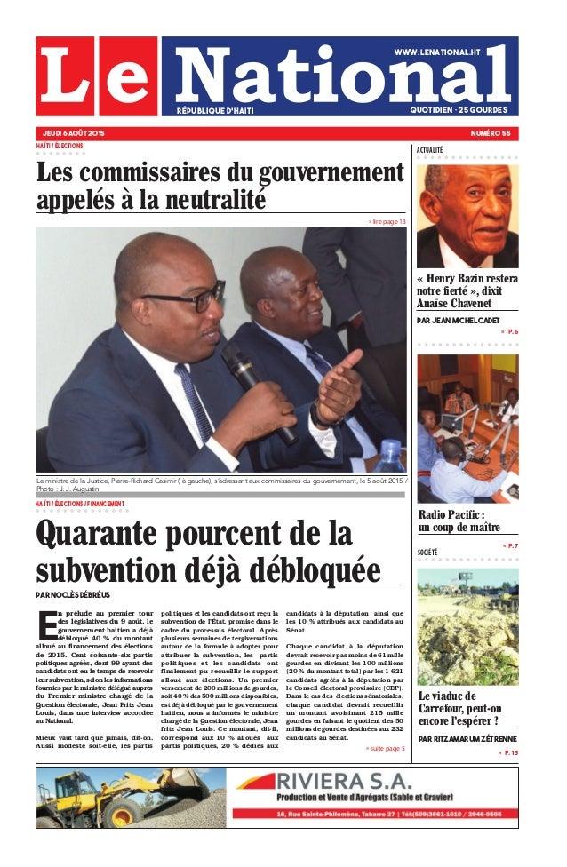 » lire page 13 » P. 7 » P. 15 »  P. 6 SOCIÉTÉ » suite page 5 Le viaduc de Carrefour, peut-on encore l'espérer ? Par Ritza...