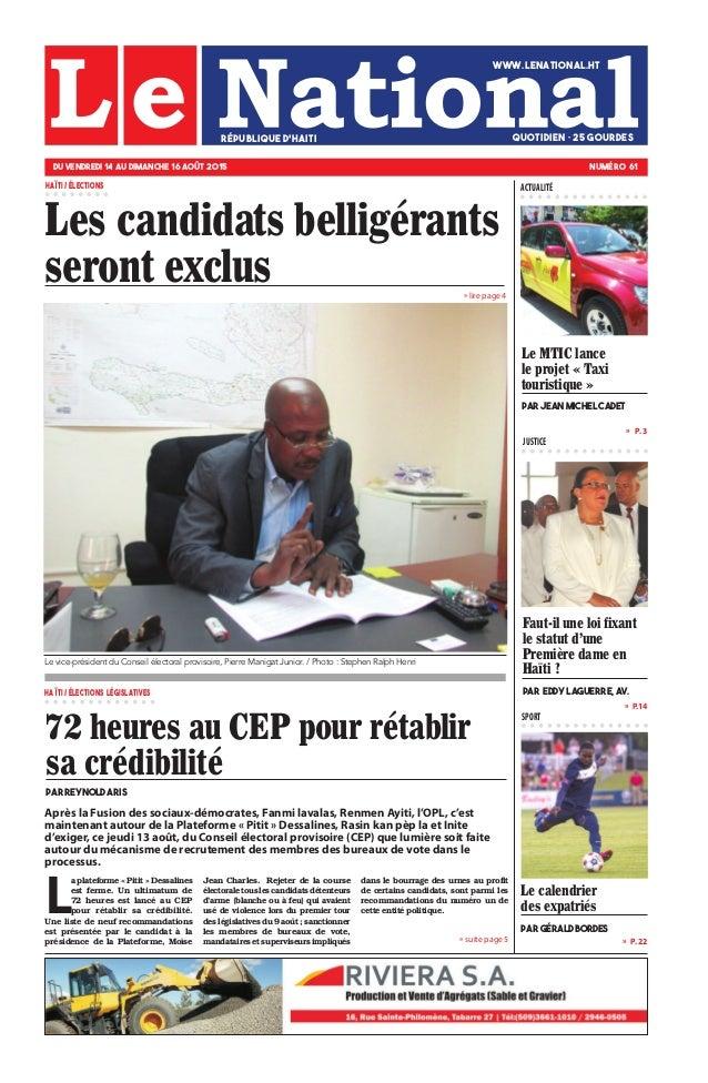 » lire page 4 » P.14 » P. 22 »  P. 3 JUSTICE SPORT » suite page 5 Le calendrier des expatriés par Gérald Bordes Les candi...