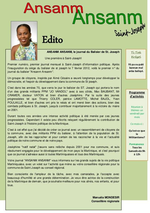 Edito                               ANSANM ANSANM, le journal du Balisier de St. Joseph              Ti Tak               ...