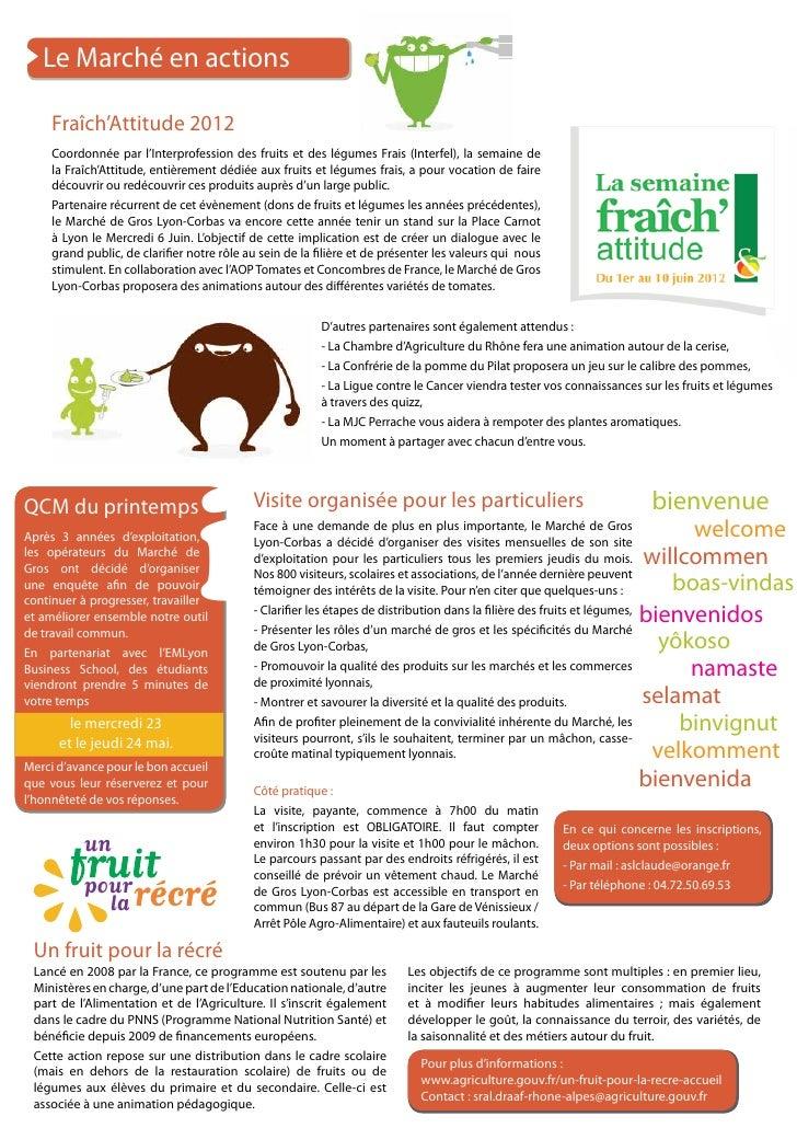 Le Marché en actions     Fraîch'Attitude 2012     Coordonnée par l'Interprofession des fruits et des légumes Frais (Interf...