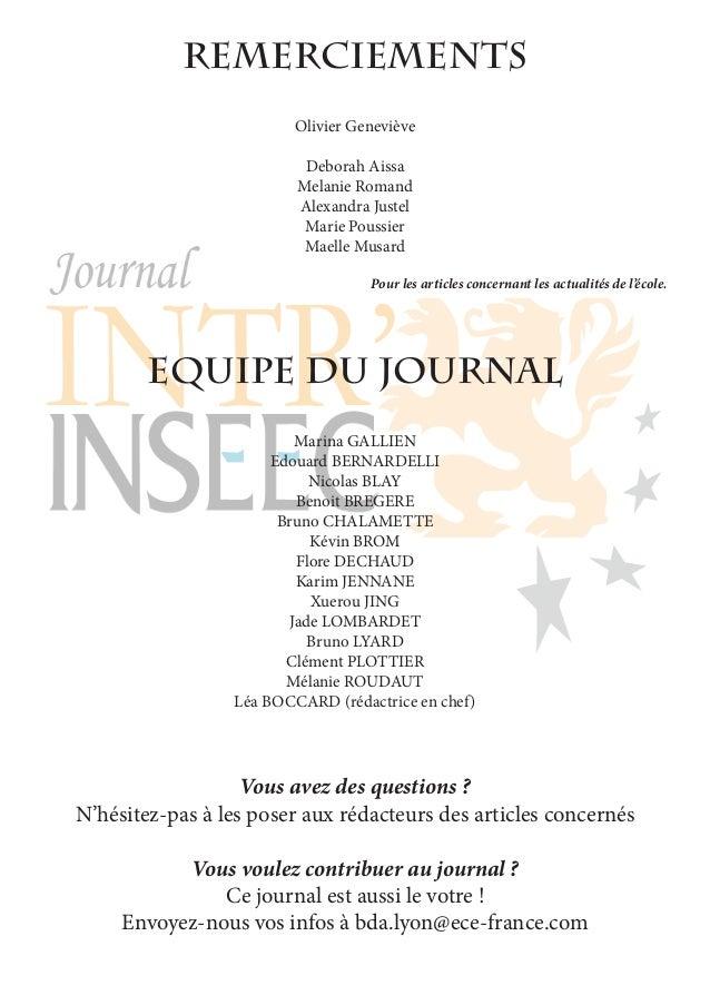 REmerciements Olivier Geneviève Deborah Aissa Melanie Romand Alexandra Justel Marie Poussier Maelle Musard Pour les articl...