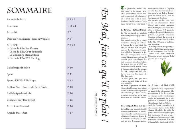 Sommaire Au mois de Mai ... P. 1 à 2 Interview  P. 3 à 4 ActualitéP. 5  Découverte Musicale :...