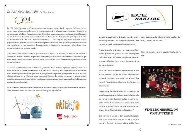 Le PEA Goût Equitable Par Marie Poussier Le PEA Goût Equitable, actif depuis maintenant 4 ans au sein de l'école, organise...