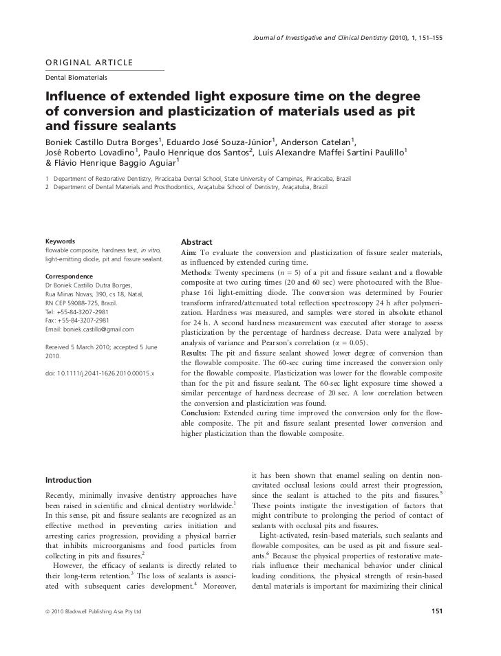 Journal of Investigative and Clinical Dentistry (2010), 1, 151–155ORIGINAL ARTICLEDental BiomaterialsInfluence of extended ...