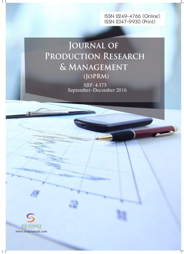 Journal of Production Research & Management vol 6 issue 3
