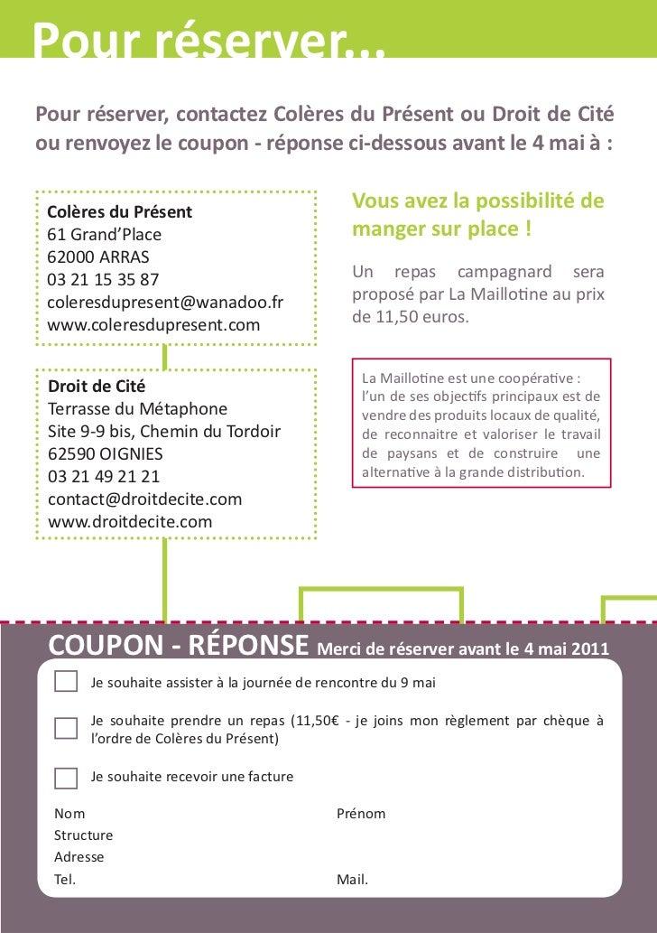 Pour réserver...Pour réserver, contactez Colères du Présent ou Droit de Citéou renvoyez le coupon - réponse ci-dessous ava...