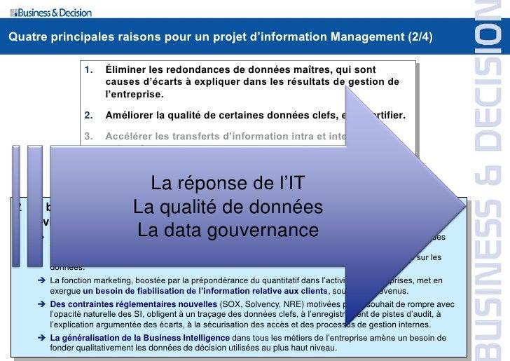 Quatre principales raisons pour un projet d'information Management (2/4)                       1.    Éliminer les redondan...