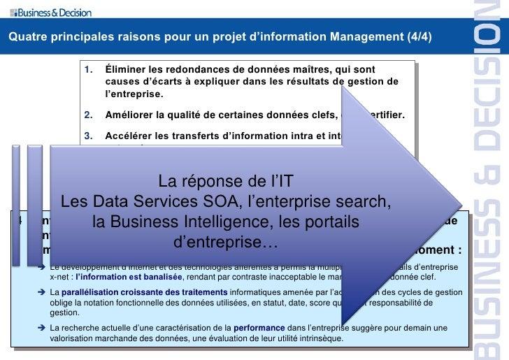 Quatre principales raisons pour un projet d'information Management (4/4)                    1.    Éliminer les redondances...