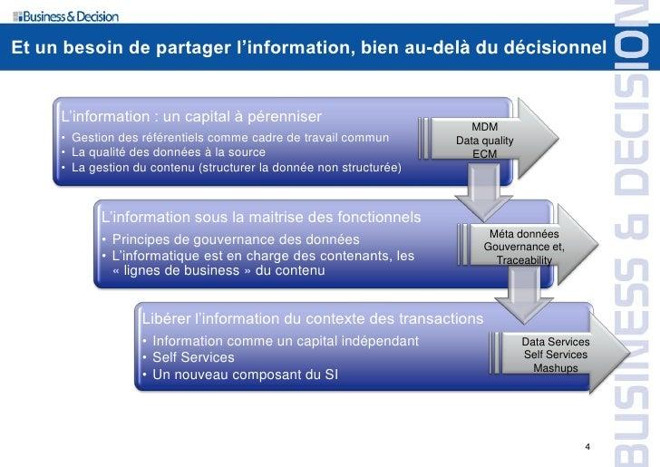 Et un besoin de partager l'information, bien au-delà du décisionnel        L'information : un capital à pérenniser        ...