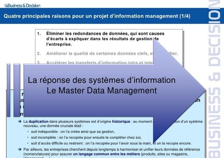 Quatre principales raisons pour un projet d'information management (1/4)                    1.    Éliminer les redondances...