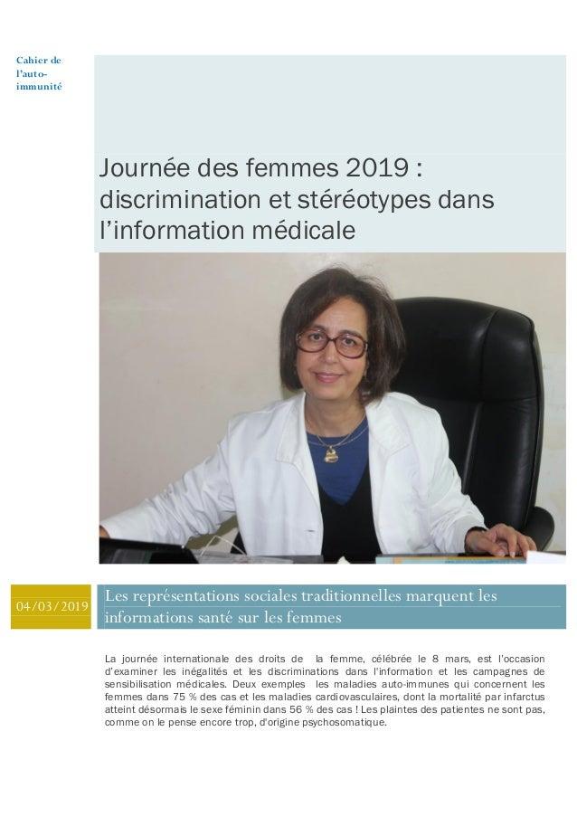 Cahier de l'auto- immunité Journée des femmes 2019 : discrimination et stéréotypes dans l'information médicale 04/03/2019 ...