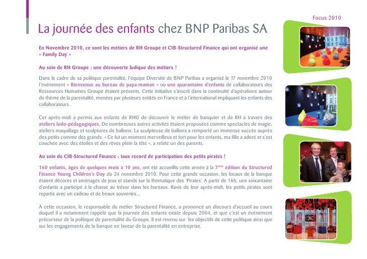 Focus 2010La journée des enfants chez BNP Paribas SAEn Novembre 2010, ce sont les métiers de RH Groupe et CIB-Structured F...