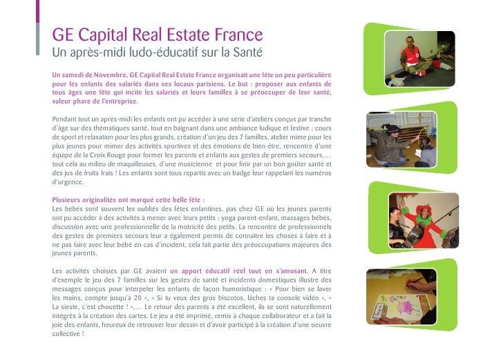 GE Capital Real Estate FranceUn après-midi ludo-éducatif sur la SantéUn samedi de Novembre, GE Capital Real Estate France ...