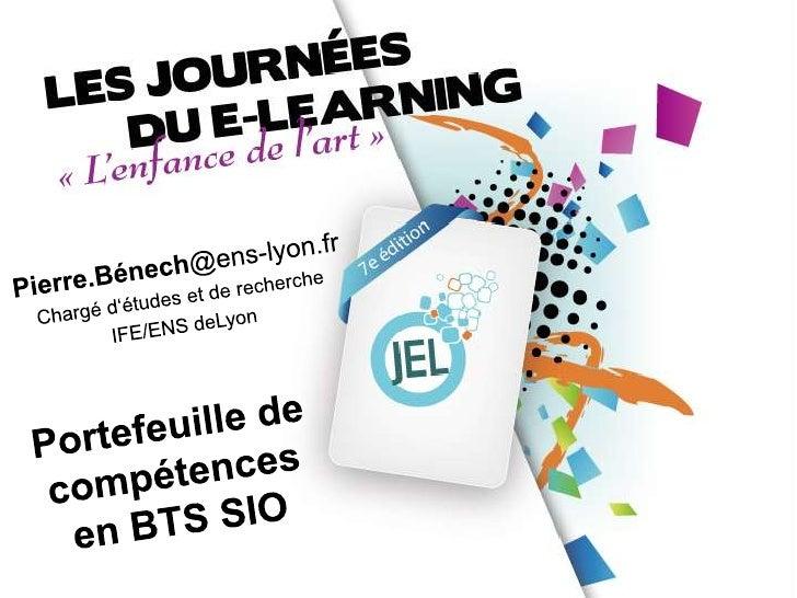 Journées du e-learning - Université Lyon 3   Pierre.Bénech@ens-lyon.fr