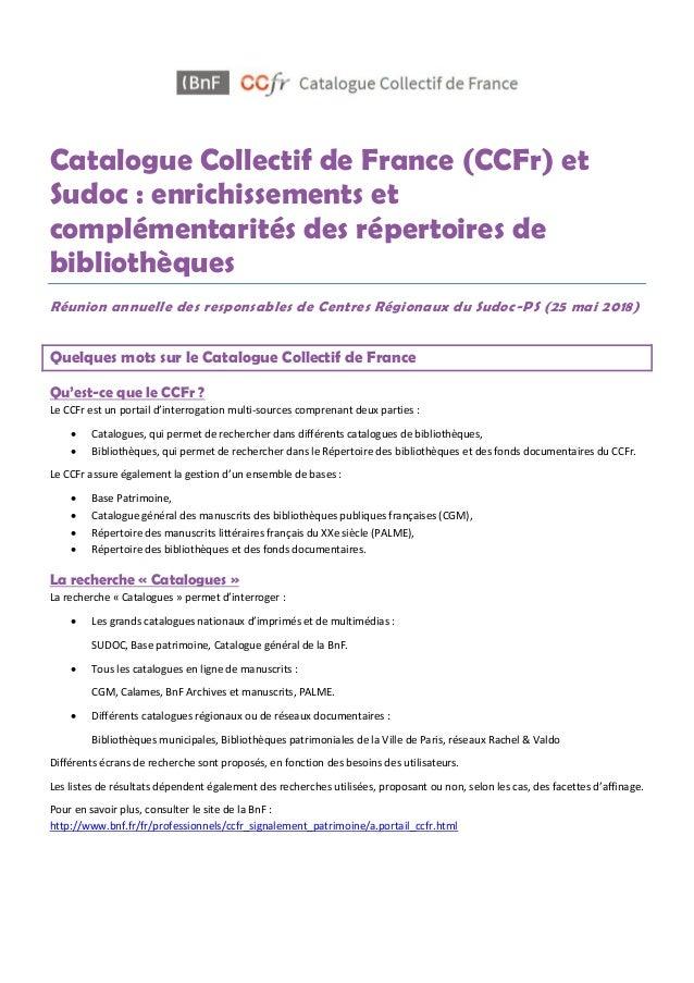 Catalogue Collectif de France (CCFr) et Sudoc : enrichissements et complémentarités des répertoires de bibliothèques Réuni...