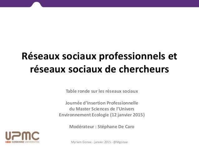 Réseaux sociaux professionnels et réseaux sociaux de chercheurs Myriam Gorsse - janvier 2015 - @Mgorsse Table ronde sur le...