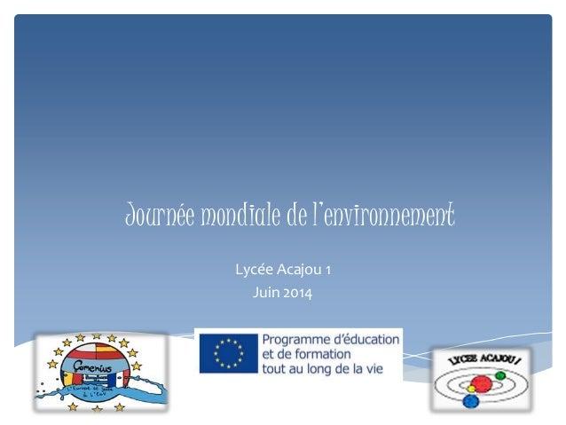 Journée mondiale de l'environnement Lycée Acajou 1 Juin 2014