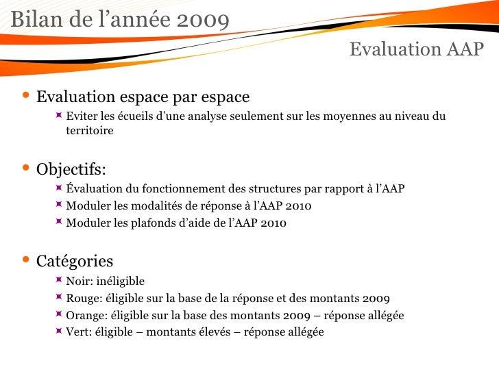 Bilan de l'année 2009 Evaluation AAP <ul><li>Evaluation espace par espace </li></ul><ul><ul><ul><li>Eviter les écueils d'u...