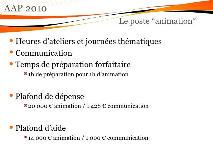"AAP 2010 Le poste ""animation"" <ul><li>Heures d'ateliers et journées thématiques </li></ul><ul><li>Communication </li></ul>..."