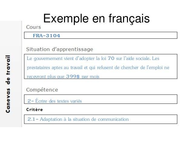 Exemple en français Si vous aviez à écrire un article dénonçant cette loi dans le journal l'itinéraire, encerclez les cara...