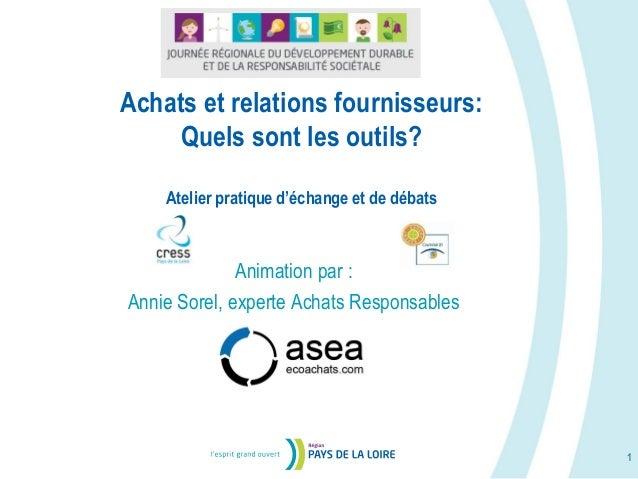 Achats et relations fournisseurs: Quels sont les outils? Atelier pratique d'échange et de débats 1 Animation par : Annie S...