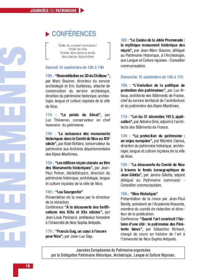 JOURNÉES DU PATRIMOINE 16 Salle du conseil municipal / Hôtel de Ville Entrée libre dans la limite des places disponibles S...